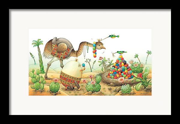 Eggs Easter Birds Framed Print featuring the painting Minieggs And Maxiegg by Kestutis Kasparavicius