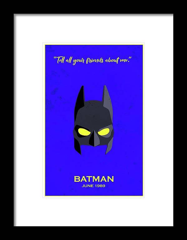 Batman Framed Print featuring the digital art Minimal Movie Poster II by Ricky Barnard