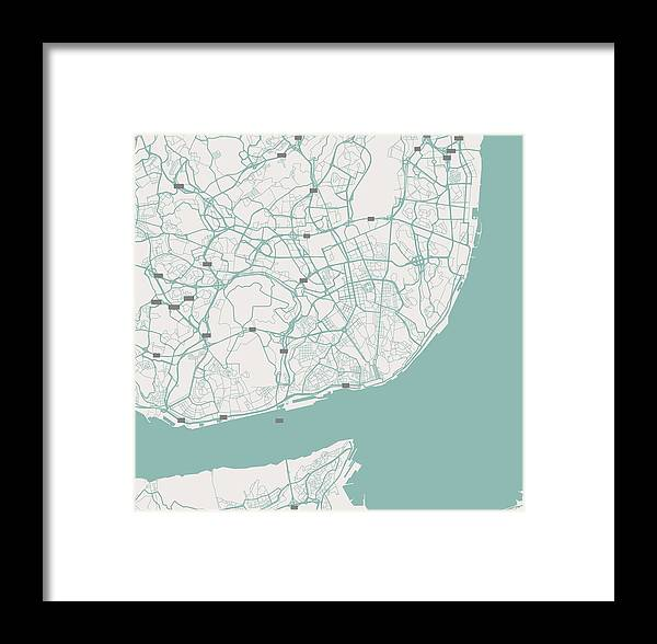 Vector Framed Print featuring the painting Minimalist Artistic Map Of Lisbon, Portugal 3 by Celestial Images