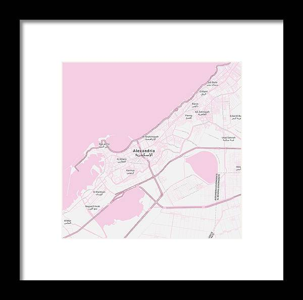 Vector Framed Print featuring the painting Minimalist Modern Map Of Alexandria, Egypt 1 by Celestial Images