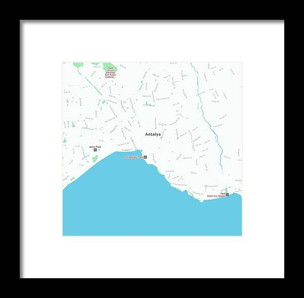 Vector Framed Print featuring the painting Minimalist Modern Map Of Antalya, Turkey 1 by Celestial Images
