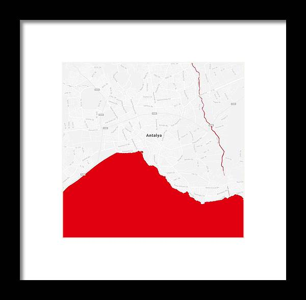 Vector Framed Print featuring the painting Minimalist Modern Map Of Antalya, Turkey 2 by Celestial Images