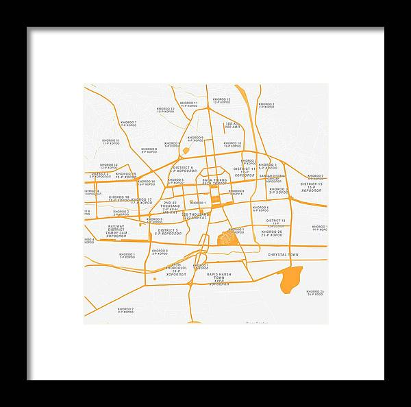 Vector Framed Print featuring the painting Minimalist Modern Map Of Ulanbatar, Mongolia by Celestial Images