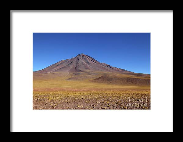 Chile Framed Print featuring the photograph Miniques Volcano And High Altitude Desert Chile by James Brunker