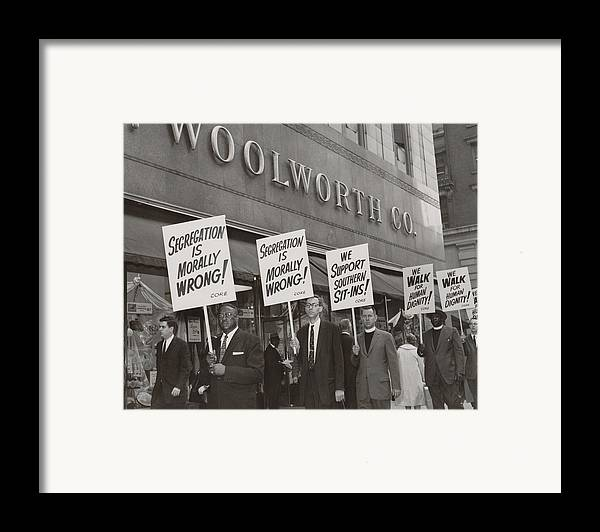 History Framed Print featuring the photograph Ministers Picket F.w. Woolworth Store by Everett