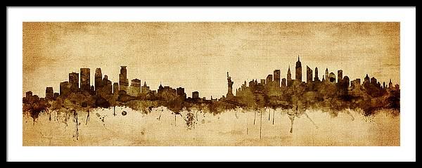 Minneapolis and New York Skyline Mashup by Michael Tompsett