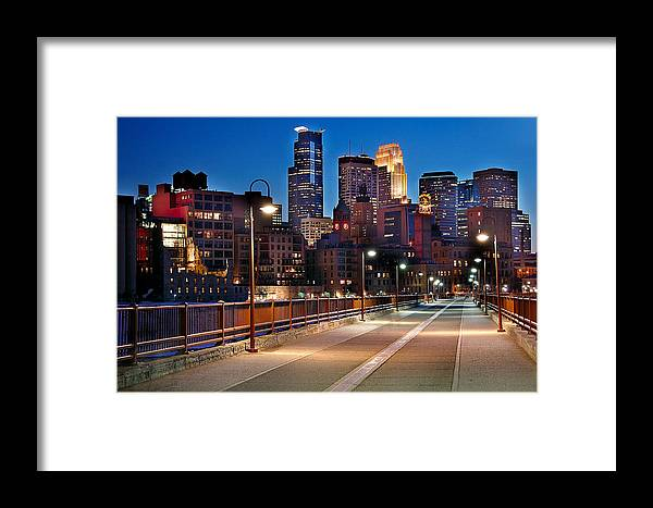 Minneapolis Skyline Framed Print featuring the photograph Minneapolis Skyline From Stone Arch Bridge by Jon Holiday