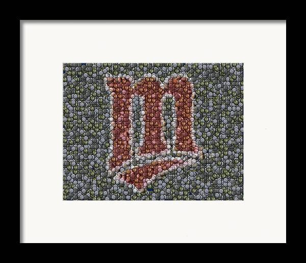 Minnesota Twins Framed Print featuring the mixed media Minnesota Twins Baseball Mosaic by Paul Van Scott
