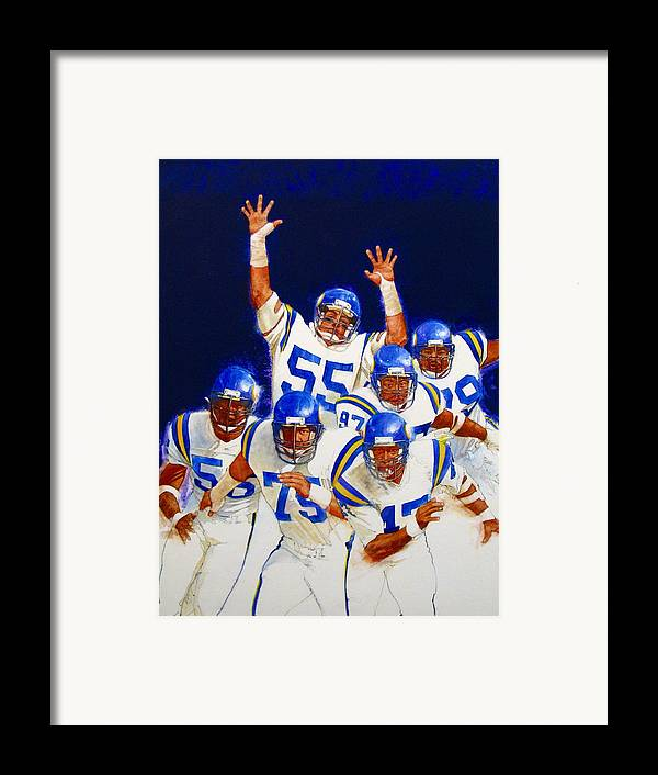 Acrylic Painting Framed Print featuring the painting Minnesota Vikings Front Four by Cliff Spohn