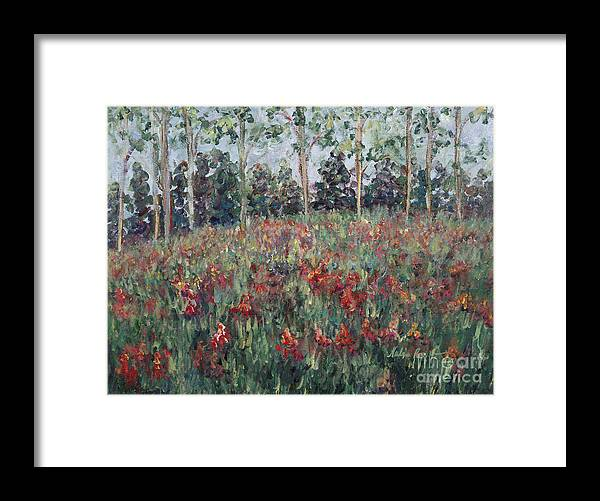 Landscape Framed Print featuring the painting Minnesota Wildflowers by Nadine Rippelmeyer