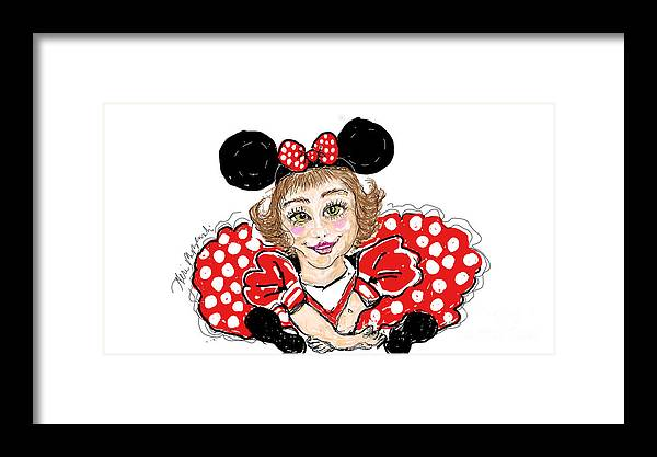 Minnie Mouse Framed Print featuring the digital art Minnie Mouse by Geraldine Myszenski