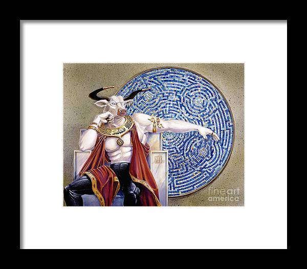 Anthropomorphic Framed Print featuring the painting Minotaur With Mosaic by Melissa A Benson