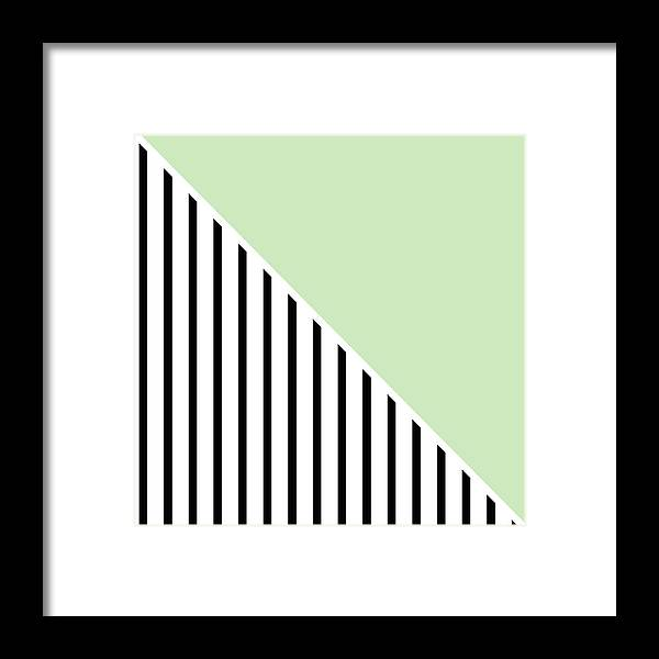 Mint Framed Print featuring the digital art Mint And Black Geometric by Linda Woods
