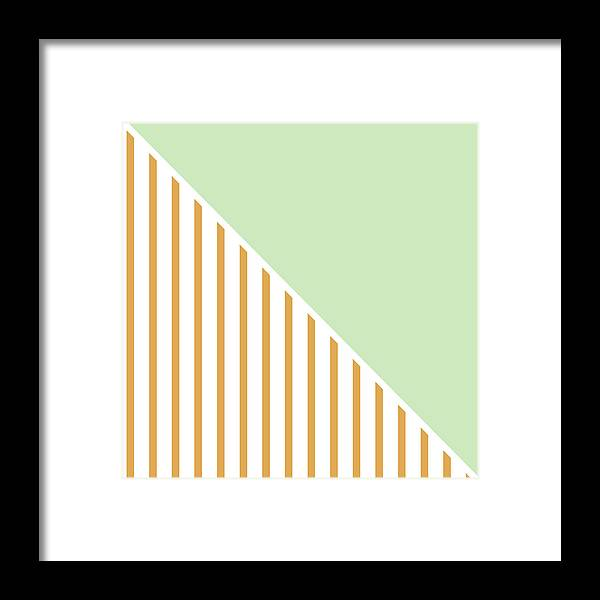 Mint Framed Print featuring the digital art Mint And Gold Geometric by Linda Woods