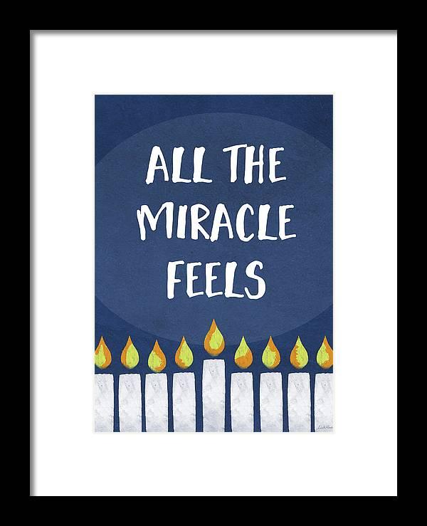 Hanukkah Framed Print featuring the mixed media Miracle Feels- Hanukkah Art By Linda Woods by Linda Woods