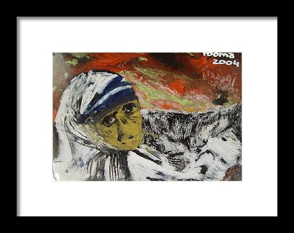Saint Framed Print featuring the glass art Miracle Mother by Rooma Mehra