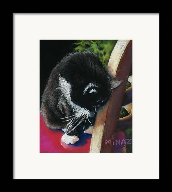Cat Framed Print featuring the painting Kitty Chair by Minaz Jantz