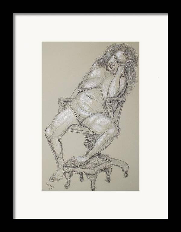 Realism Framed Print featuring the drawing Miriam 1 by Donelli DiMaria