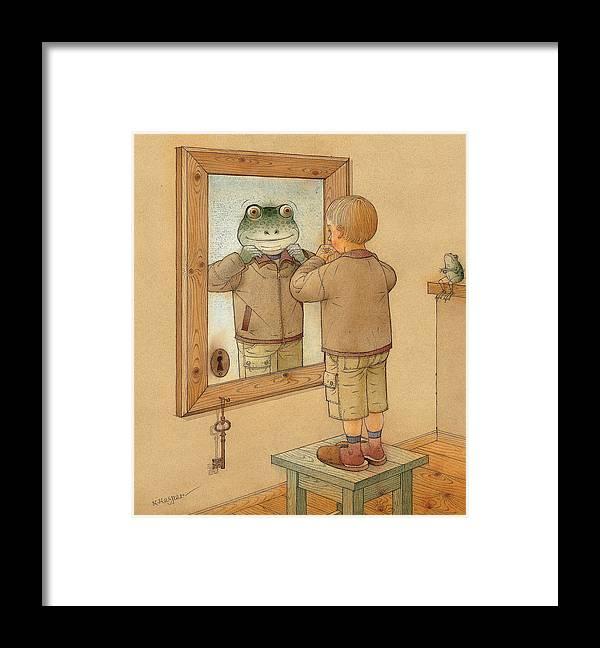 Mirror Room Flat Boy Frog Brown Framed Print featuring the painting Mirror by Kestutis Kasparavicius