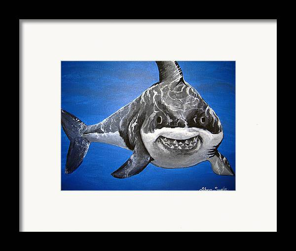 Shark Framed Print featuring the painting Mischief by Sharon Supplee
