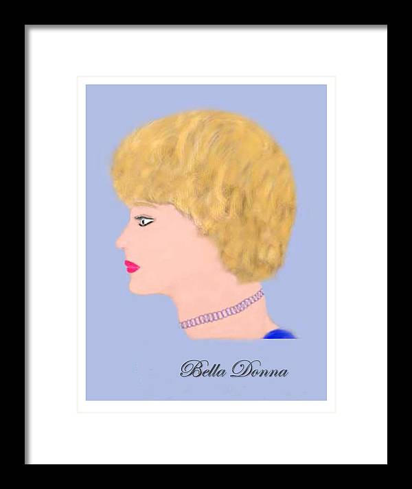 Head Profile Of Social Lady. Framed Print featuring the digital art Miss Bella Donna by Jerry White