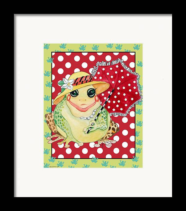 Animals Framed Print featuring the print Miss Belle Frog by Kay Robinson