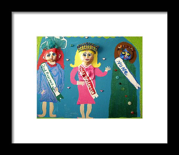 Framed Print featuring the mixed media Miss Bo Leg Usa by Betty Roberts