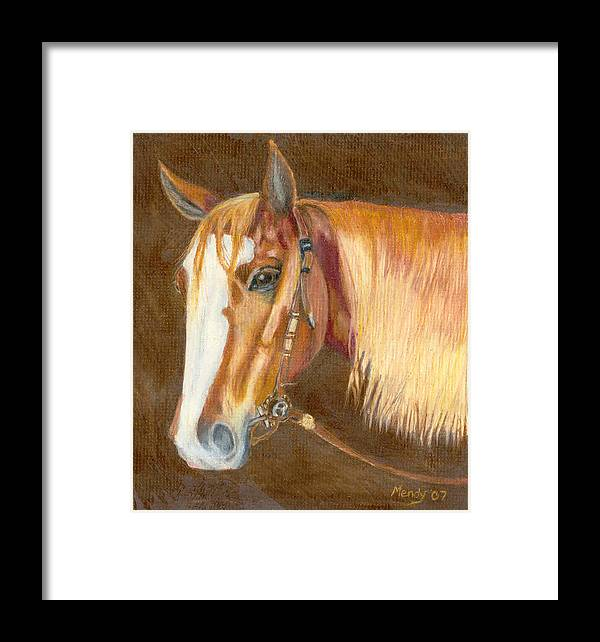 Horse Framed Print featuring the pastel Miss Cow Chex by Mendy Pedersen