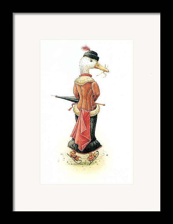 Duck Ice Skating Winter Christmas Greeting Cards Framed Print featuring the painting Miss Duck by Kestutis Kasparavicius
