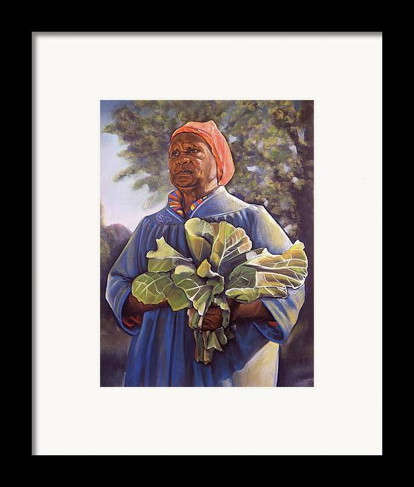 Women Framed Print featuring the pastel Miss Emma's Collard Greens by Curtis James
