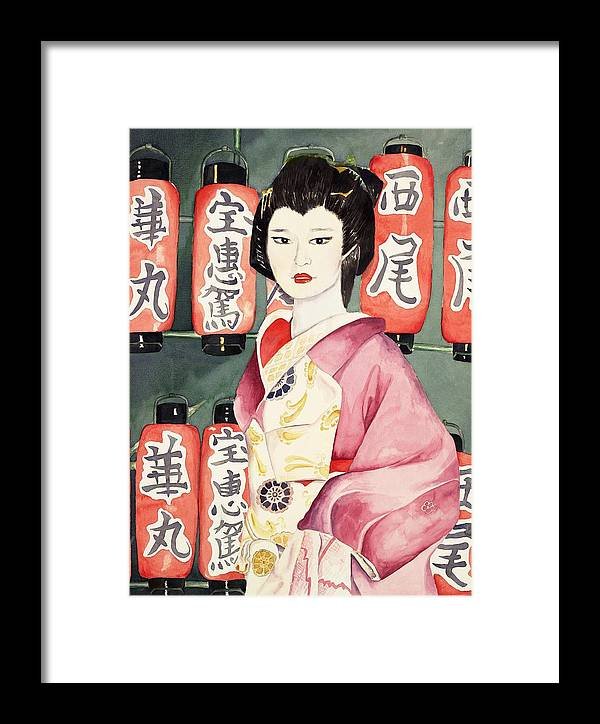 Geisha In Kimono With Red Lanterns Framed Print featuring the painting Miss Hanamaru At Osaka Festival by Judy Swerlick