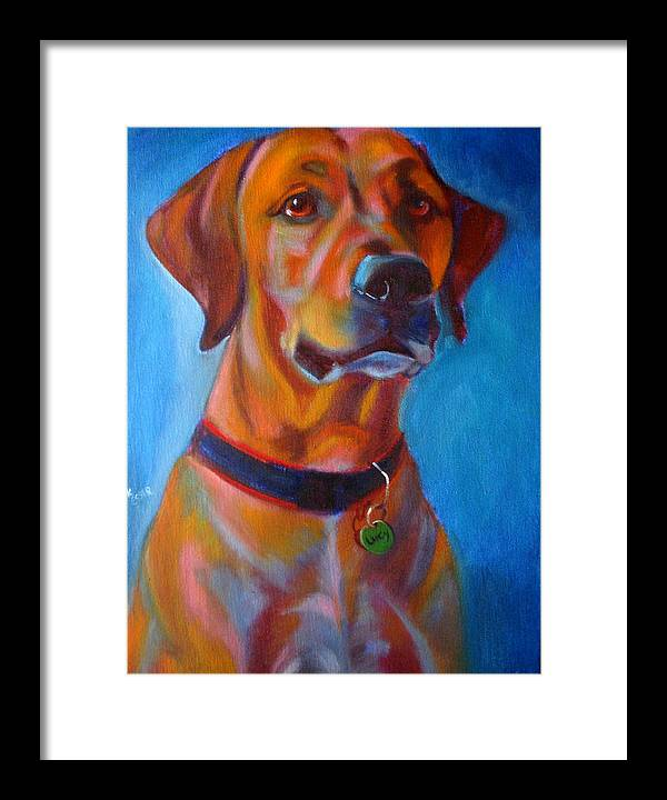 Dog Portraits Framed Print featuring the painting Miss Lucy by Kaytee Esser
