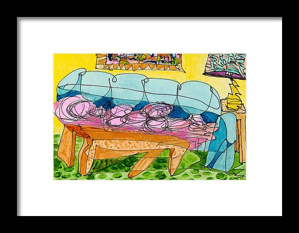 Abstract Art For Sale Framed Print featuring the painting Miss O On The Go by Jerry Hanks