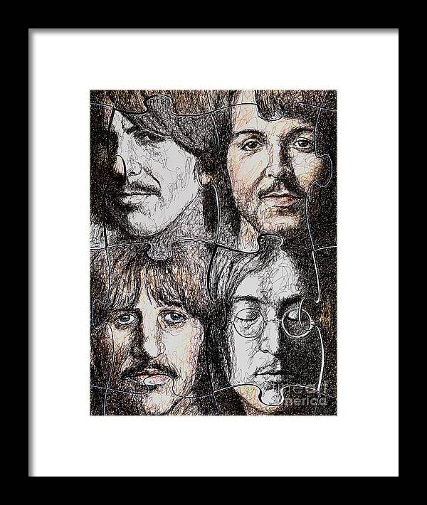 Beatles Framed Print featuring the drawing Missing Pieces by Maria Arango