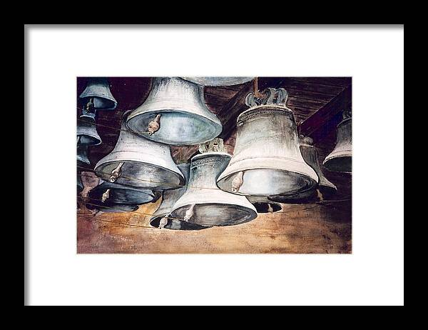 Bells Framed Print featuring the painting Mission Bells by Dwight Williams