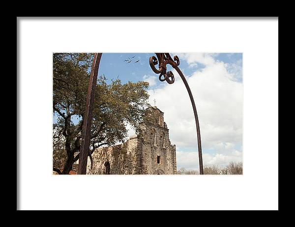 Texture Landscape Framed Print featuring the photograph Mission Espada by Iris Greenwell
