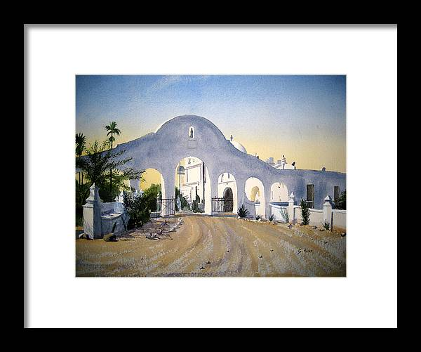 San Xavier Mission Framed Print featuring the painting Mission Gate by Shirley Braithwaite Hunt
