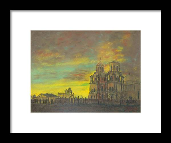 Sonoran Mission Framed Print featuring the painting Mission San Xavier Del Bac by Dan Bozich