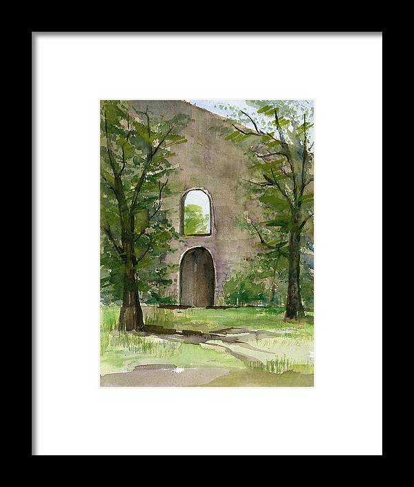 Mission Framed Print featuring the painting Mission Wall by Arline Wagner