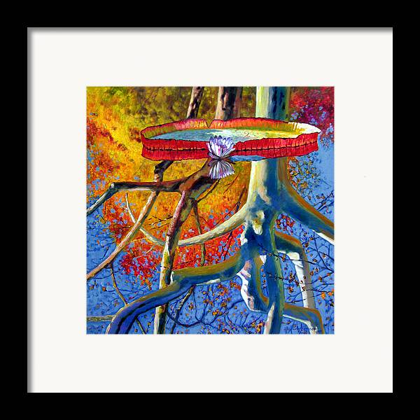 Garden Pond Framed Print featuring the painting Missouri Sycamore Reflections by John Lautermilch