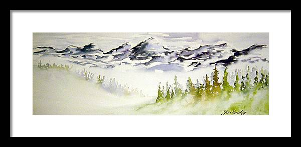 Rock Mountain Range Alberta Canada Framed Print featuring the painting Mist In The Mountains by Joanne Smoley