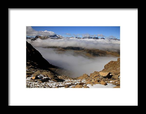 Pyrenees France Mountain Clouds Snow Ardiden National Park Stones Hiking Climbing Framed Print featuring the photograph Mist On Ardiden Range by Frederic Vigne
