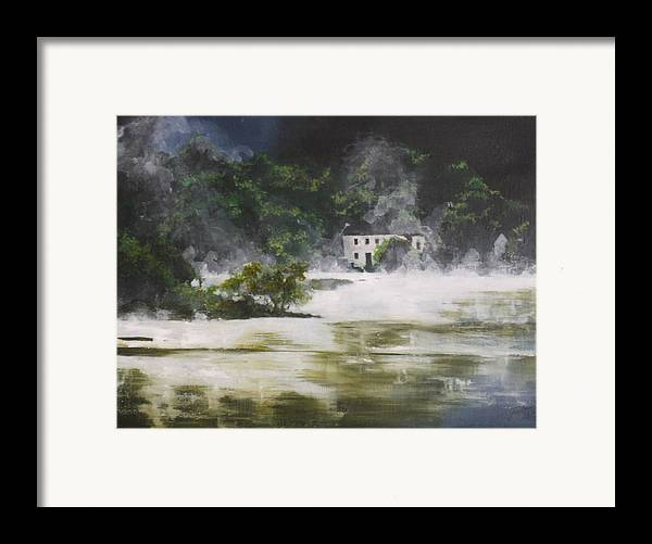 Landscape Framed Print featuring the painting Mist On Derwent Water by Jane Simpson