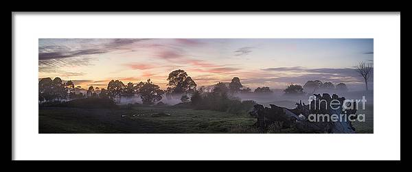 Mist Framed Print featuring the photograph Mist over paddock at Berry by Sheila Smart Fine Art Photography