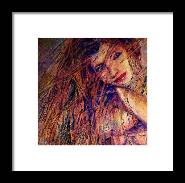 Woman Framed Print featuring the painting Misty - Watercolor by Donna Hanna
