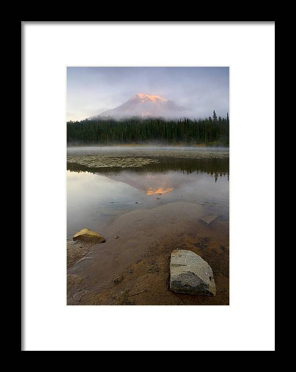 Mt. Rainier Framed Print featuring the photograph Misty Alpenglow by Mike Dawson