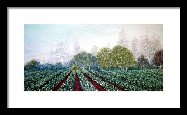 Landscape Framed Print featuring the painting Misty Blue by Carl Capps