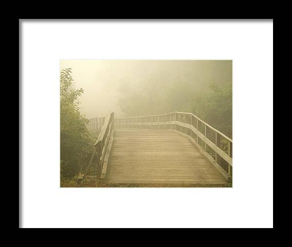 Woods Framed Print featuring the photograph Misty Bridge by Andrew Kazmierski