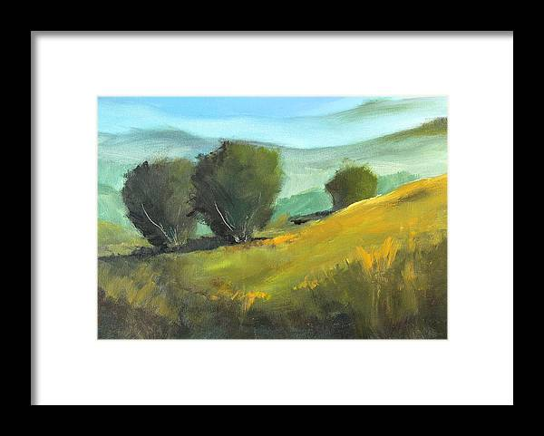 Landscape Painting Framed Print featuring the painting Misty Horizon by Nancy Merkle