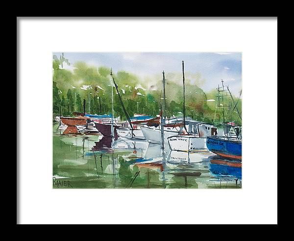 Marina Framed Print featuring the painting Misty Marina by Pete Maier